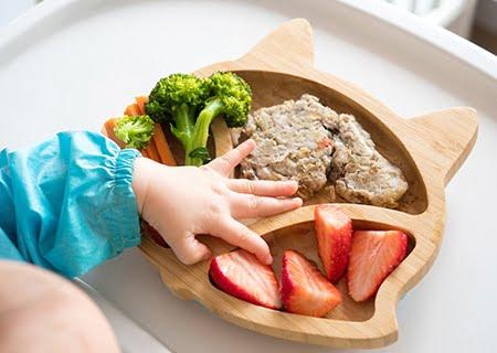 Prato em forma de gato com alimentos como morangos e brócolis, e mão de bebê os apalpando