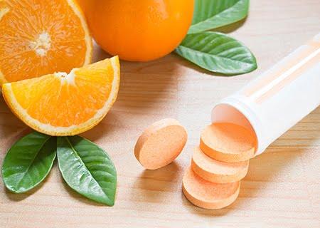 Laranja e suplementos de vitamina C