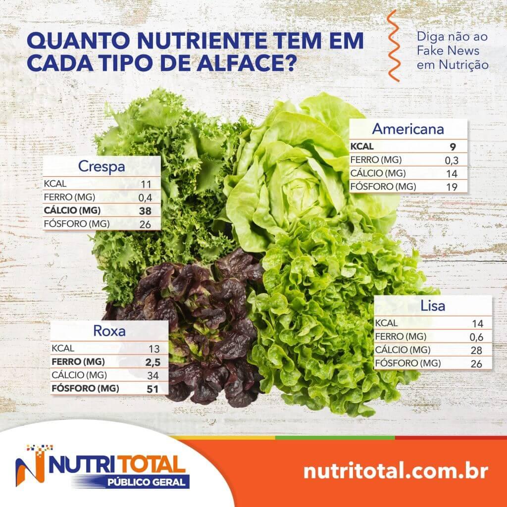 Infográfico com os nutrientes de cada tipo de alface