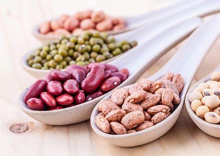 Colheres com diferentes oleaginosas dentro, como feijão roxo e feijão carioca - dois exemplos de alimentos ricos em ferro