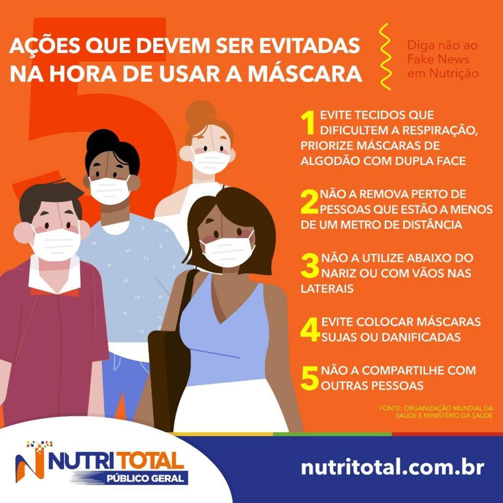 Infográfico mostrando ações para evitar na hora de usar máscara