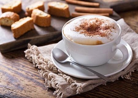 Xícara com cappuccino