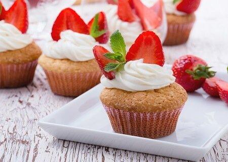 Cupcake saudável de morango